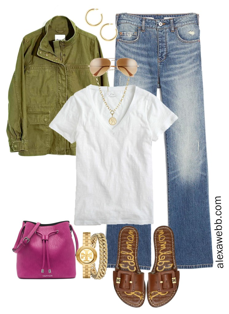 Plus Size Spring Casual Outfit with bootcut jeans, white t-shirt, and slide sandals - Alexa Webb