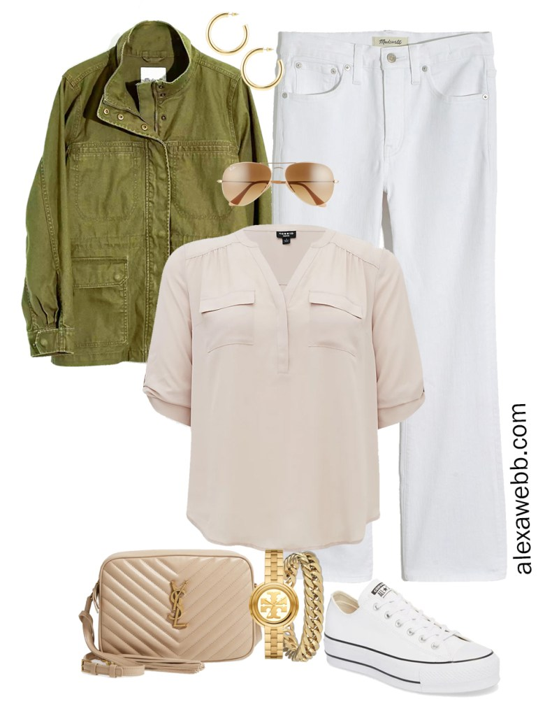 Plus Size Spring Outfit Idea from a Capsule with an Olive Green Utility Jacket, White Cropped Bootcut Jeans, a Taupe Top, Beige YSL Crossbody Bag, and White Converse Platform Sneakers - Alexa Webb