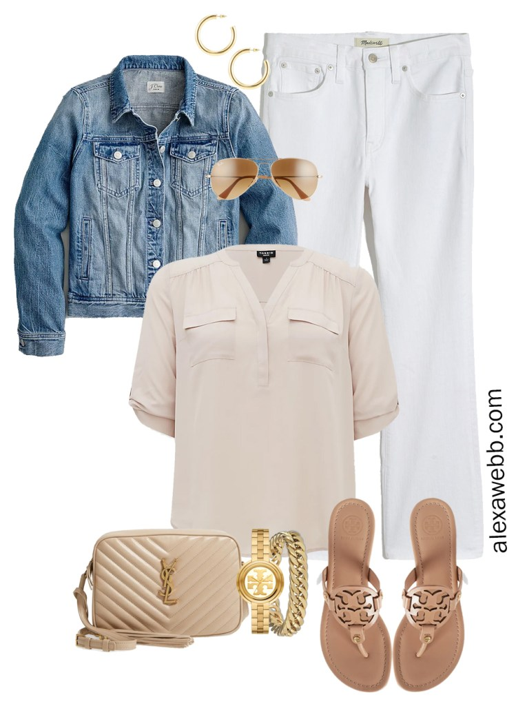 Plus Size Spring Outfit Idea from a Capsule with a Blue Denim Jean Jacket, White Cropped Bootcut Jeans, a Taupe Top, Beige YSL Crossbody Bag, and Tory Burch Miller Sandals - Alexa Webb