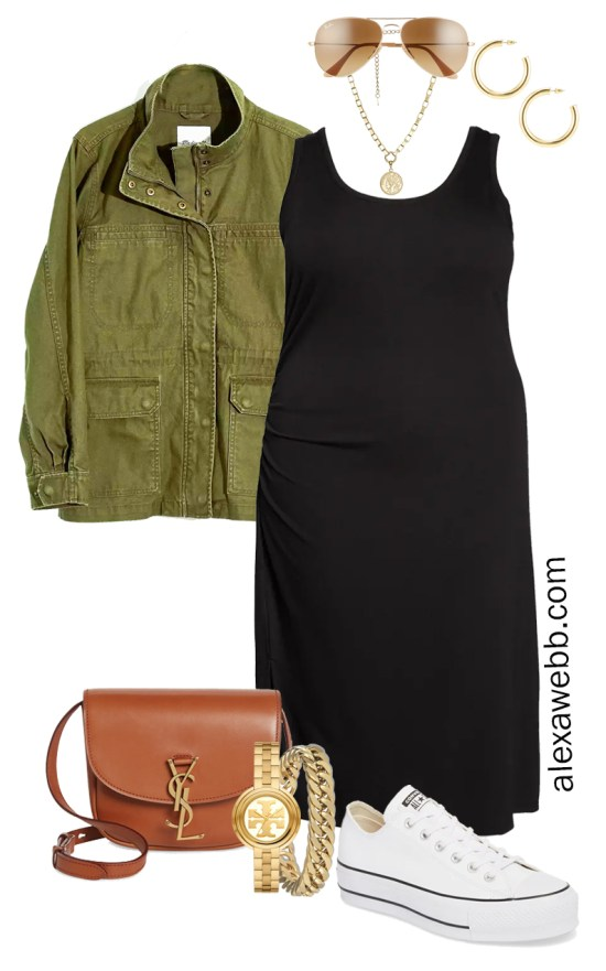 Plus Size Black Tank Dress Outfit for Spring and Summer with a Olive Green Utility Jacket, Tan Crossbody Bag, and White Platform Sneakers - Alexa Webb