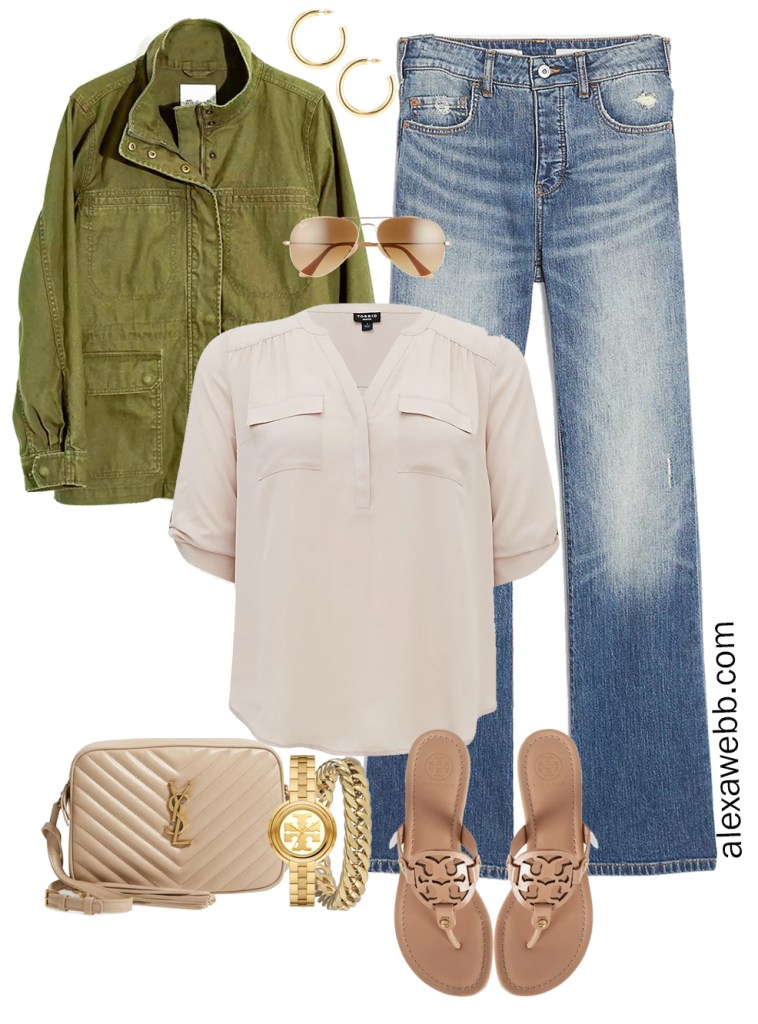 Plus Size Spring Outfit Idea from a Capsule with an Olive Green Utility Jacket, Bootcut Jeans, a Taupe Top, Beige YSL Crossbody Bag, and Tory Burch Miller Sandals - Alexa Webb