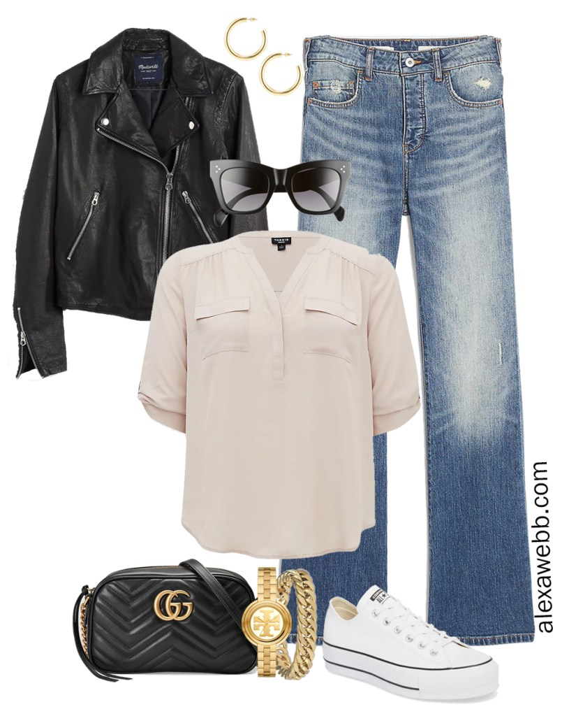 Plus Size Spring Outfit Idea from a Capsule with a Black Leather Biker or Moto Jacket, Bootcut Jeans, a Taupe Top, Black Gucci Crossbody Bag, and White Platform Converse Sneakers - Alexa Webb