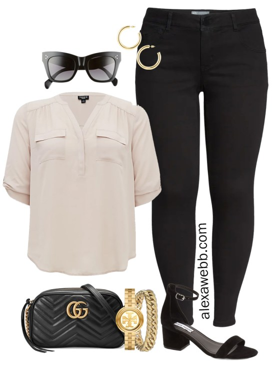 Plus Size Spring Outfit Idea from a Capsule with Black Skinny Jeans, a Taupe Top, Black Gucci Crossbody Bag, and Black Heeled Sandals - Alexa Webb