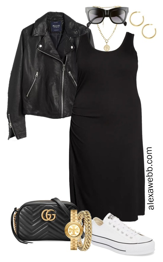 Plus Size Black Tank Dress Outfit with Black Leather Biker Jacket, Gucci Crossbody Bag, and White Platform Sneakers- Alexa Webb