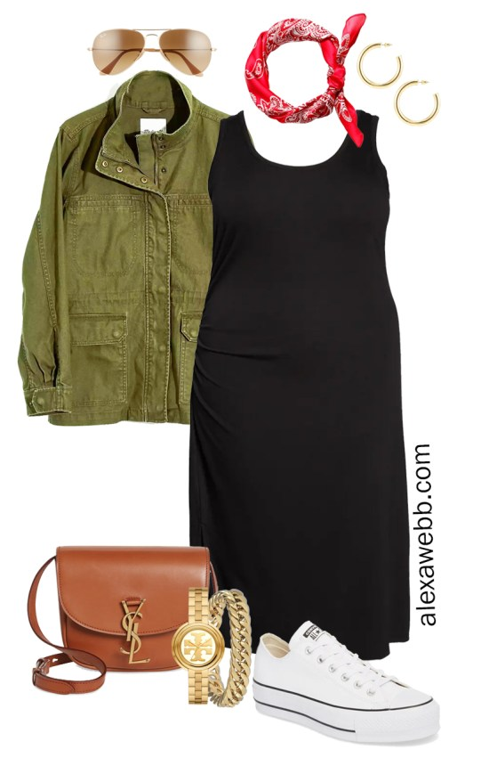 Plus Size Black Tank Dress Outfit for Spring and Summer with a Red Bandana, Olive Green Utility Jacket, Tan Crossbody Bag, and White Platform Sneakers - Alexa Webb