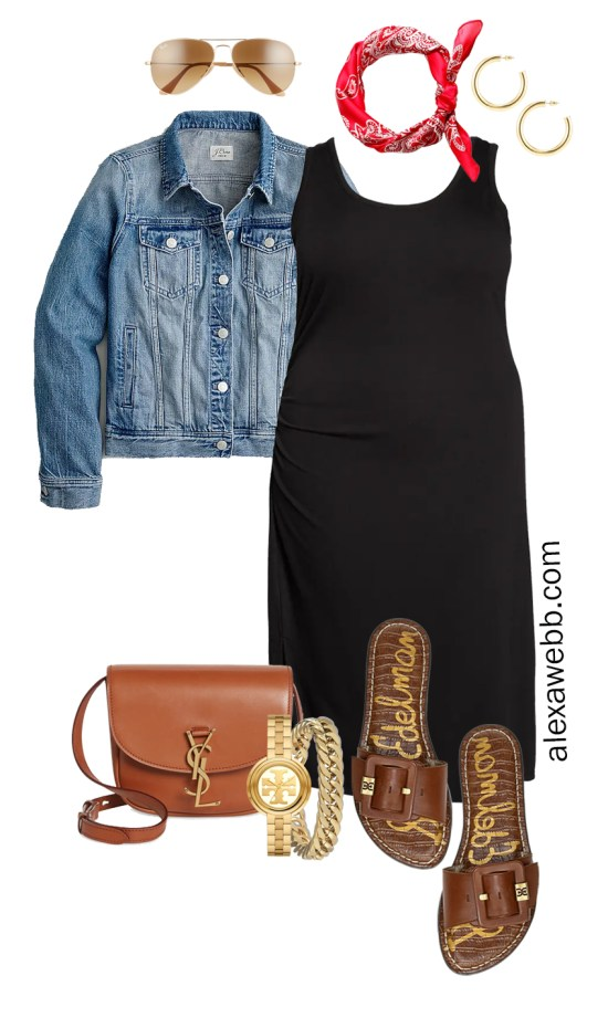 Plus Size Black Tank Dress Outfit for Spring and Summer with a Red Bandana, Denim Jacket, Tan Crossbody Bag, and Slide Sandals - Alexa Webb