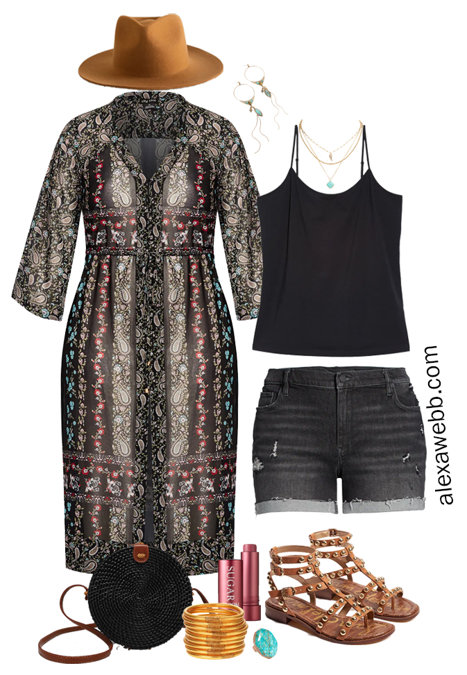 Plus Size Black Shorts Boho Outfit with Black Denim Cut Off Shorts, Kimono Cardigan Duster and Studded Sandals - Alexa Webb