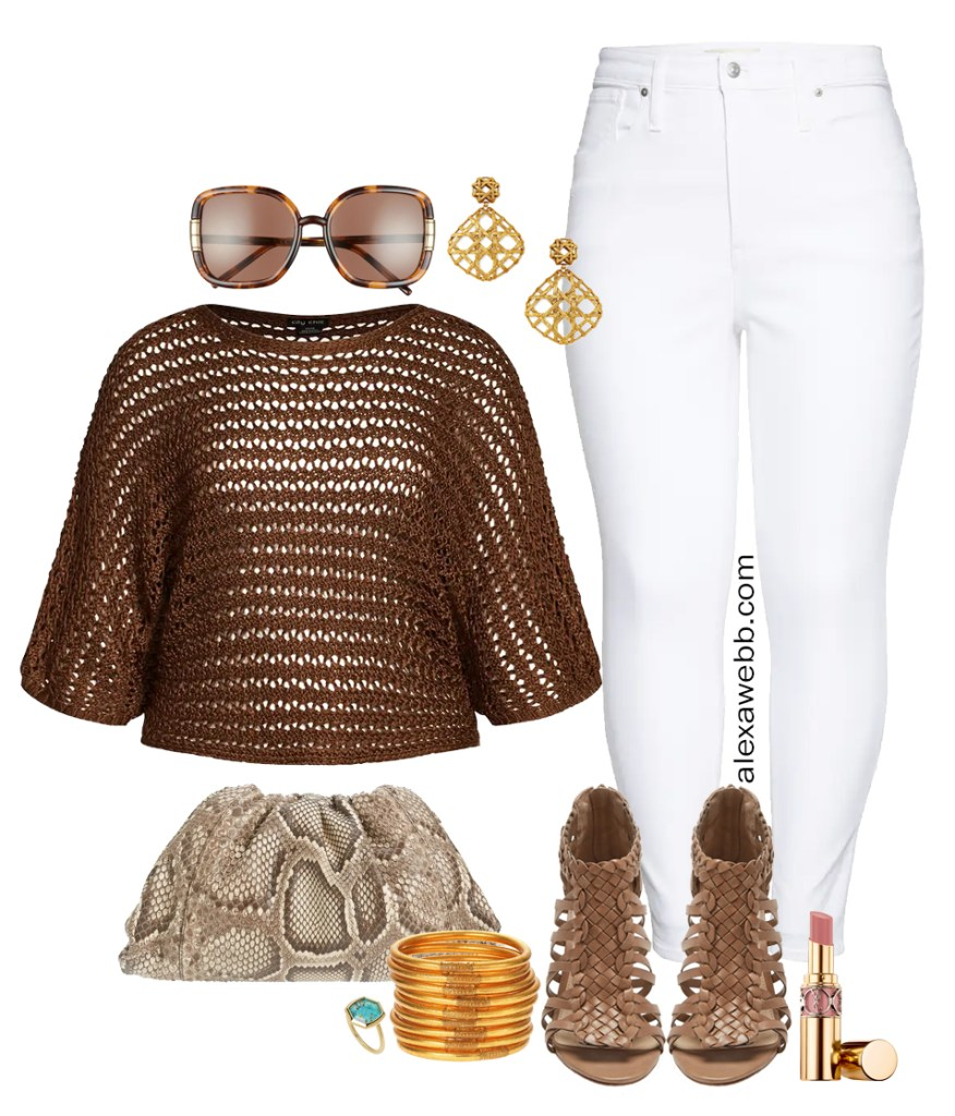 Plus Size White Jeans Outfit Ideas for Summer with a Brown Crochet Sweater, White Denim, Snake Cloud Clutch Bag, and Woven Heeled Sandals - Alexa Webb