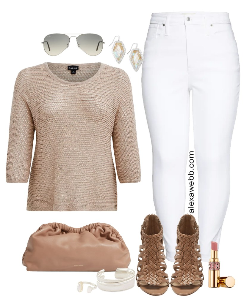 Plus Size White Jeans Outfit Ideas for Summer with a Taupe Crochet Sweater, White Denim, Cloud Clutch Bag, and Woven Heeled Sandals - Alexa Webb