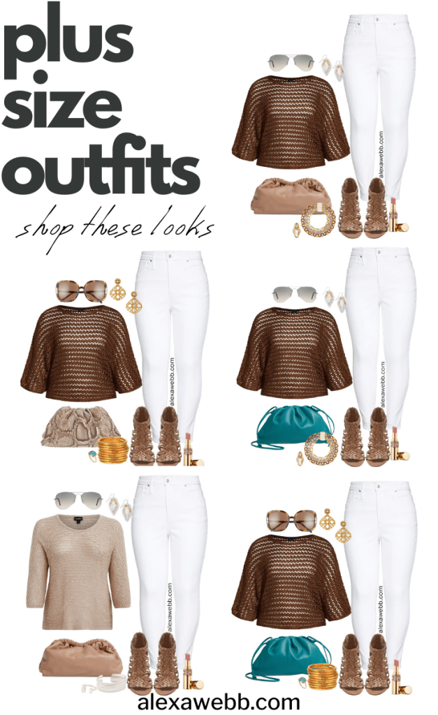 Plus Size White Jeans Outfit Ideas for Summer with a Crochet Sweater, White Denim, Cloud Clutch Bag, and Woven Heeled Sandals - Alexa Webb