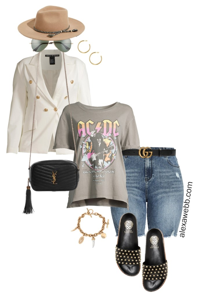 Plus Size White Blazer Outfits with a double-breasted white blazer, graphic t-shirt, cut-off denim shorts, Gucci belt, studded slide sandals, and a crossbody bag - Alexa Webb