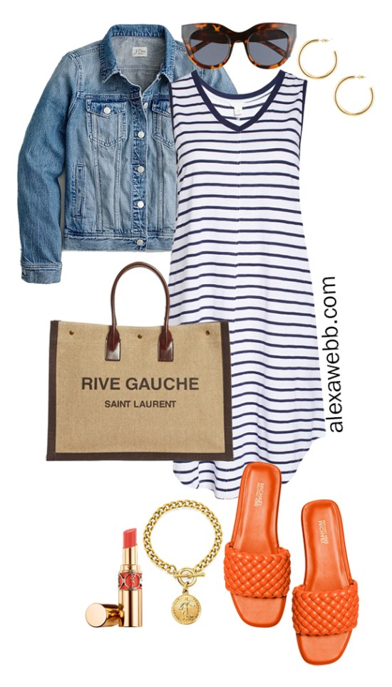 Plus Size Stripe Dress Summer Outfits with Stripe Tank Dress, Denim Jacket, Saint Laurent Tote Bag, and Orange Sandals - Alexa Webb