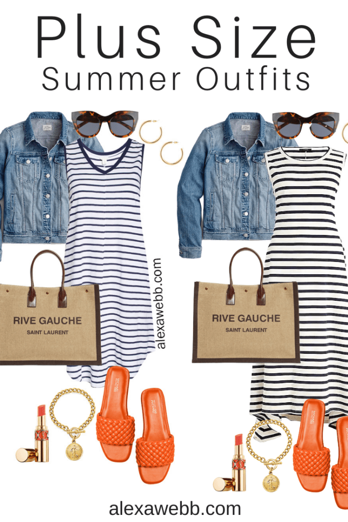 Plus Size Stripe Dress Summer Outfits with Stripe Dress, Denim Jacket, Saint Laurent Tote Bag, and Orange Sandals - Alexa Webb