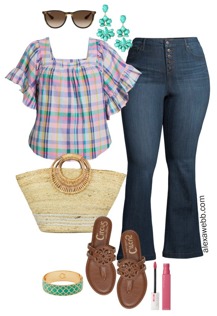 Plus Size Spring Style with Walmart - Plus Size Spring Outfit Ideas with a Plaid Top, Flare Jeans, Straw Tote, and Brown Sandals - Alexa Webb