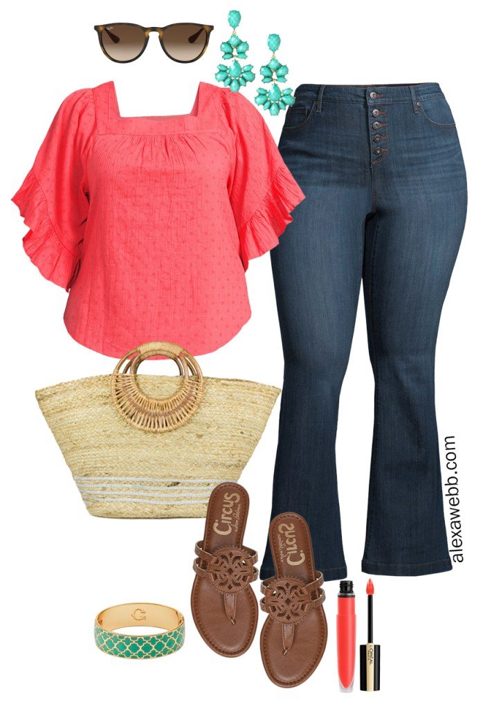 Plus Size Spring Style with Walmart - Plus Size Spring Outfit Ideas with a Coral Top, Flare Jeans, Straw Tote, and Brown Sandals - Alexa Webb