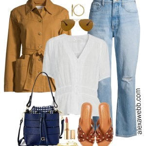 Plus Size Spring Casual Outfit with Walmart featuring 90s jeans, a cute white top, and camel lightweight jacket with sandals - Alexa Webb