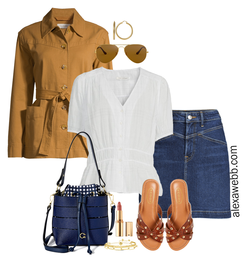 Plus Size Spring Casual Outfit with Walmart featuring a denim jean skirt, a cute white top, and camel lightweight jacket with sandals - Alexa Webb