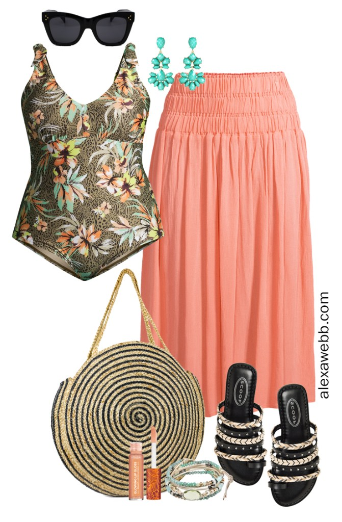 Plus Size Swimwear with a Plus Size Swimsuit, Straw Tote Beach Bag, Sandals, and a Coral Midi Skirt - Alexa Webb