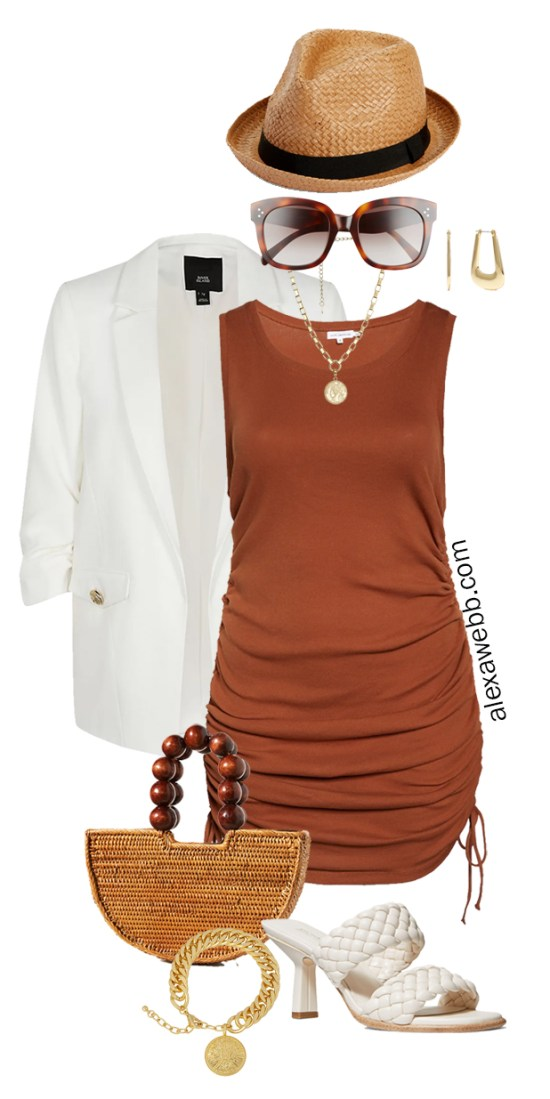 Plus Size Brown Tank Dress Outfits - Vacation Outfit Idea with a Rust Brown Dress, White Blazer, Straw Bag, Fedora, and Mules - Alexa Webb