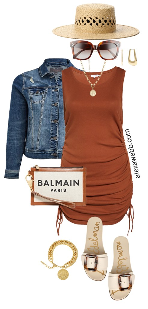 Plus Size Brown Tank Dress Outfits - Casual Summer Outfit Idea with a Rust Brown Dress, Denim Jacket, Balmain Wristlet, Straw Hat, and Sandals - Alexa Webb