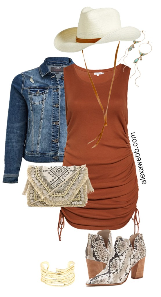 Plus Size Brown Tank Dress Outfits - Boho Western Summer Outfit Idea with a Rust Brown Dress, Denim Jacket, Cowboy Hat, and Snake Ankle Booties - Alexa Webb