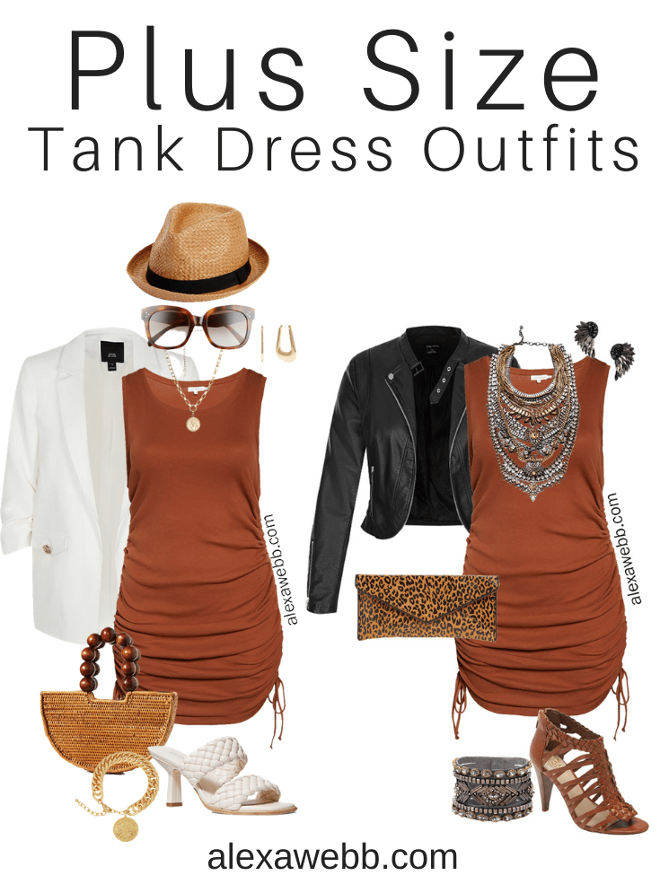 Plus Size Brown Tank Dress Outfits with a Rust Brown Tank Dress for Summer - Alexa Webb