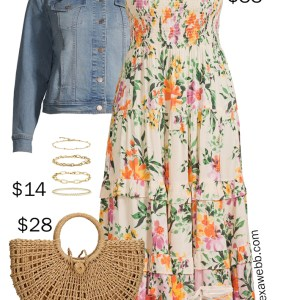 Plus Size on a Budget – Midi Dress Outfit with a Denim Jacket, Espadrille Wedges, Straw Tote Bag - Alexa Webb
