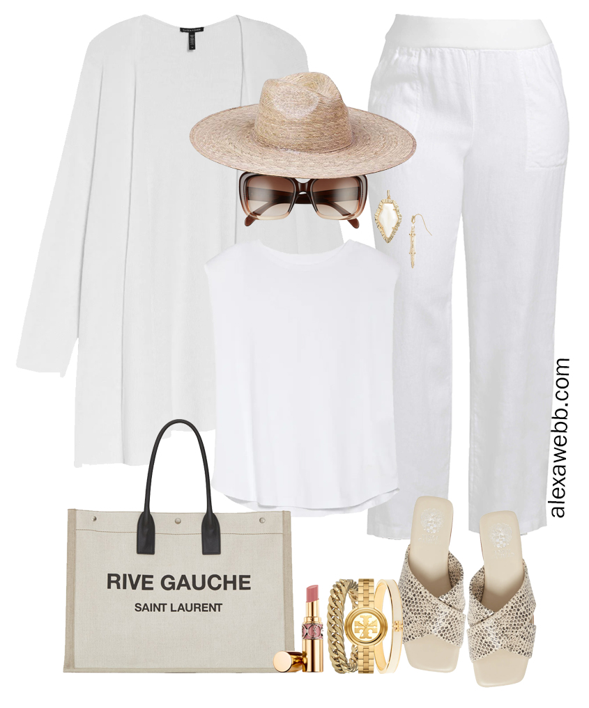 Plus Size All White Outfit with plus size white linen pants, white top, snake print sandals, straw hat, linen cardigan, and canvas tote bag. Perfect resortwear for summer vacations - Alexa Webb