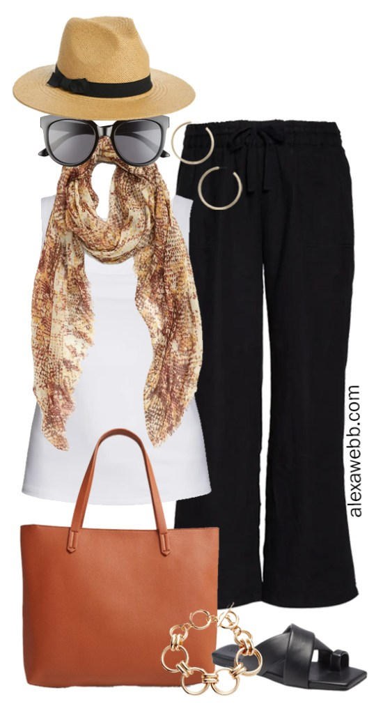 Plus Size Linen Outfits with black linen wide leg pants and white square neck tank top, snake scarf, tote bag, and flat sandals - Alexa Webb