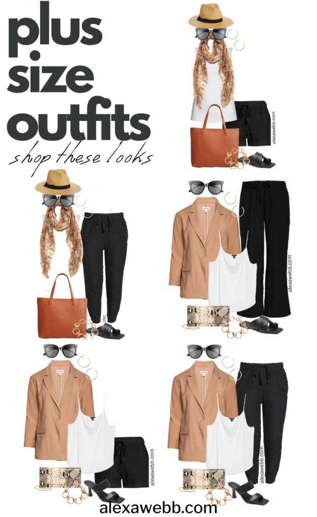 Plus Size Linen Outfits with black linen shorts, joggers, and wide leg pants, tan blazer, and sandals for summer - Alexa Webb