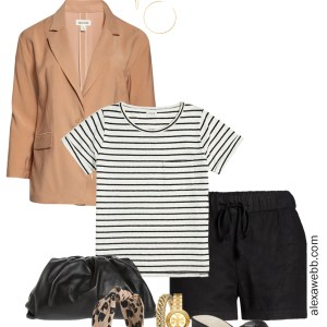 Plus Size Micro Capsule Outfit with Black Linen Shorts, a Striped T-Shirt, Lightweight Blazer, and Slide Sandals - Alexa Webb