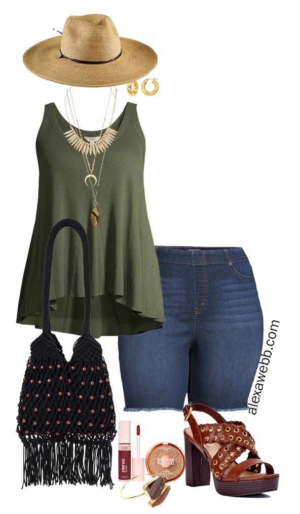Plus Size Boho Summer Outfits with Walmart featuring olive green swing tank, denim shorts, platform heeled sandals, a macrame hobo bag, and a wide brim fedora hat - Alexa Webb