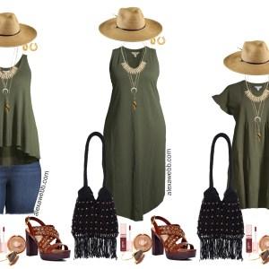 Plus Size Boho Summer Outfits with Walmart featuring olive green swing tank, denim shorts, platform heeled sandals, a macrame hobo bag, wide brim fedora hat, and an olive green maxi tank dress - Alexa Webb