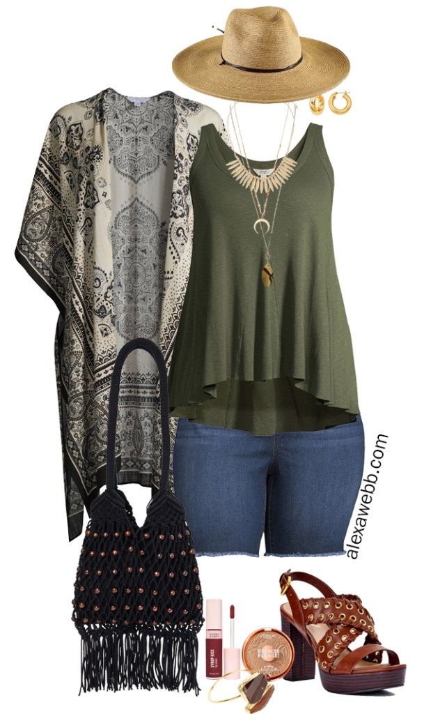 Plus Size Boho Summer Outfits with Walmart featuring olive green swing tank, plus size kimono, denim shorts, platform heeled sandals, a macrame hobo bag, and a wide brim fedora hat - Alexa Webb