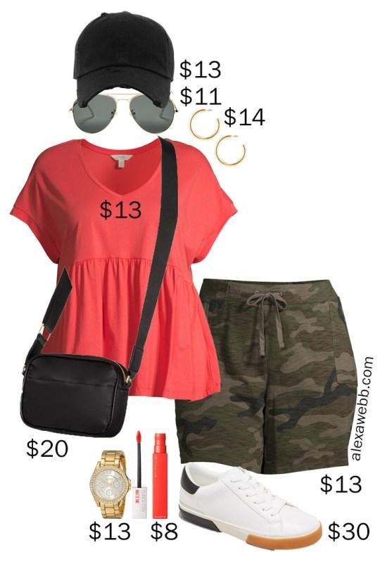 Plus Size on a Budget - Camo Shorts Athleisure - Coral Tee with Peplum, Knit Shorts, Crossbody Bag, and Baseball Cap - Alexa Webb