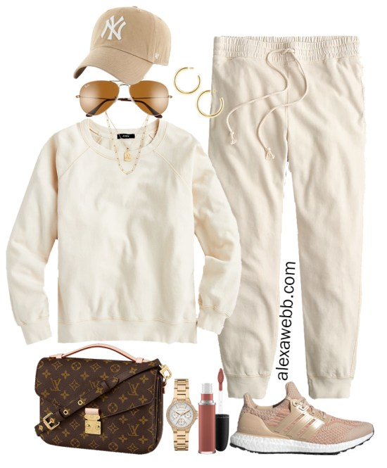 Plus Size Summer Athleisure Outfit with Matching Plus Size Ivory Cream Sweatshirt and Joggers, a baseball cap, adidas sneakers, and Louis Vuitton crossbody bag - Alexa Webb