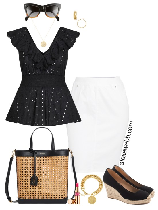 Plus Size Peplum Top Summer Outfit with black eyelet ruffle peplum top, white denim skirt, caned bag, espadrille wedges, and gold jewelry. Good for work or play! Alexa Webb
