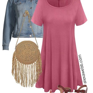 Plus Size on a Budget – Pink T-Shirt Dress Outfit with Denim Jacket, Crochet Bag, Wedge Sandals - Alexa Webb