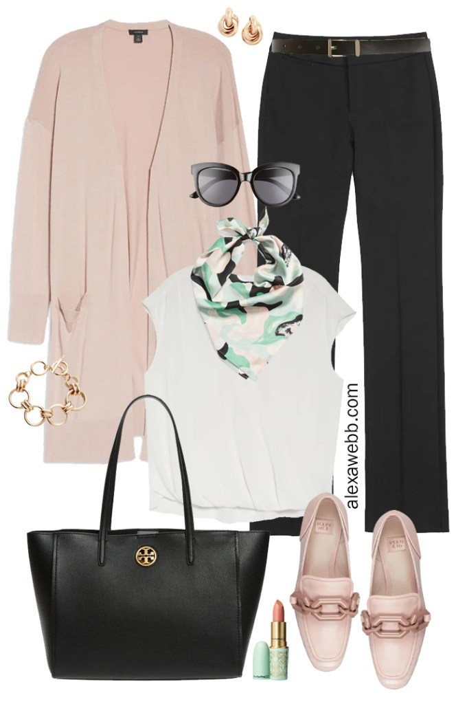 Plus Size Work Outfits with Blush Pink Cardigan, Black Trousers, Blouse, Scarf, and Pink Loafers - Alexa Webb