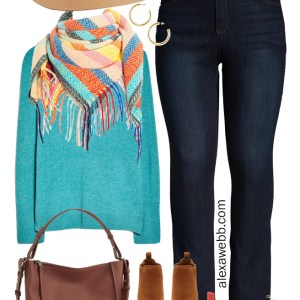 Plus Size Nordstrom Anniversary Sale Outfit Cashmere Sweater with Bootcut Jeans, Blanket Scarf, and Ankle Booties for Fall - Alexa Webb