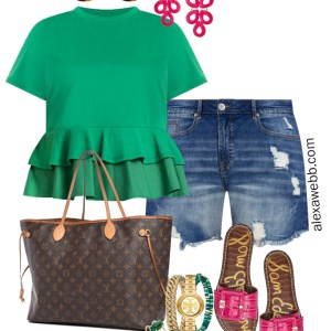 Plus Size Green Peplum Top Summer Outfit with Denim Shorts, Hot Pink Slide Sandals, Louis Vuitton Neverfull Tote, and Hot Pink Statement Earrings - Alexa Webb