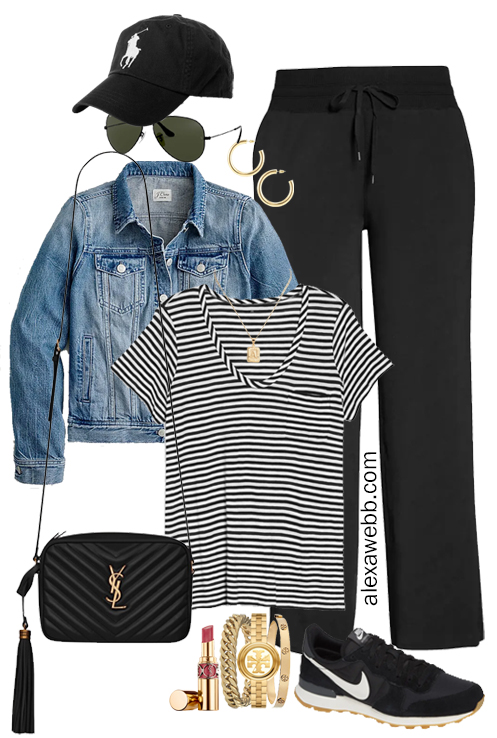 Plus Size Summer into Fall Athleisure Outfits with Black Wide Leg Pants, Striped T-Shirt, Denim Jacket, Crossybody Bag, and Black Retro Nike Sneakers - Alexa Webb