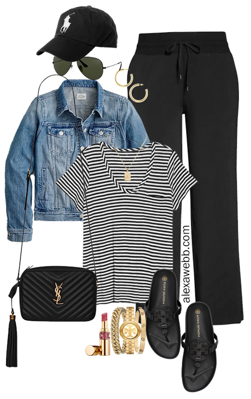 Plus Size Summer into Fall Athleisure Outfits with Black Wide Leg Pants, Striped T-Shirt, Denim Jacket, Crossybody Bag, and Tory Burch Miller Cloud Sandals - Alexa Webb