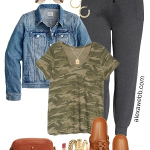 More Plus Size Athleisure - Summer Outfit Idea with a camo t-shirt, joggers, and denim jacket - Alexa Webb