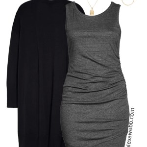 Plus Size Nordstrom Anniversary Sale Outfit with a ruched knit dress, duster cardigan, ankle booties, and felt fedora hat - Alexa Webb