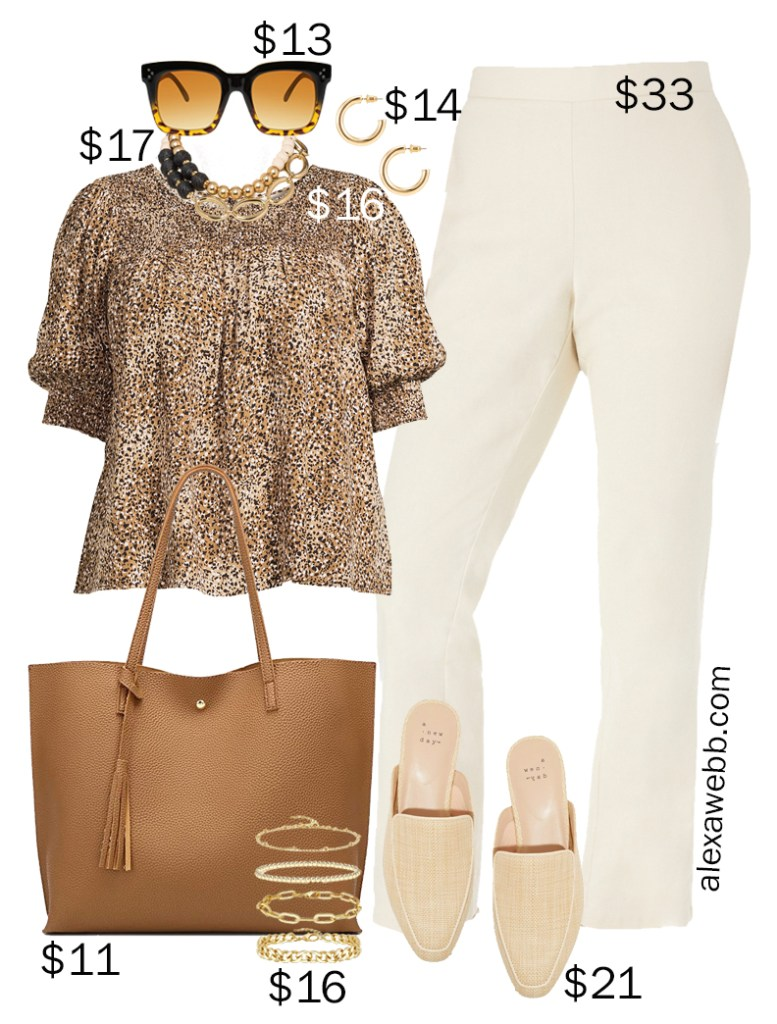 Plus Size on a Budget – Summer Business Casual Outfits with Neutral Colors including Linen Pants, a Leopard Top, and Mules - Alexa Webb