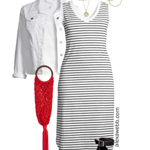 Plus Size Summer Stripes with stripe midi dress, white denim jacket, wedge sandals, and red macrame clutch - Alexa Webb