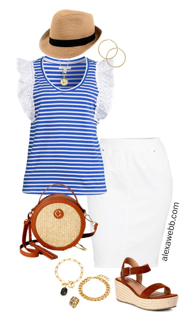 Plus Size Summer Stripes with stripe ruffle sleeve top, white denim skirt, wedge sandals, and straw bag - Alexa Webb