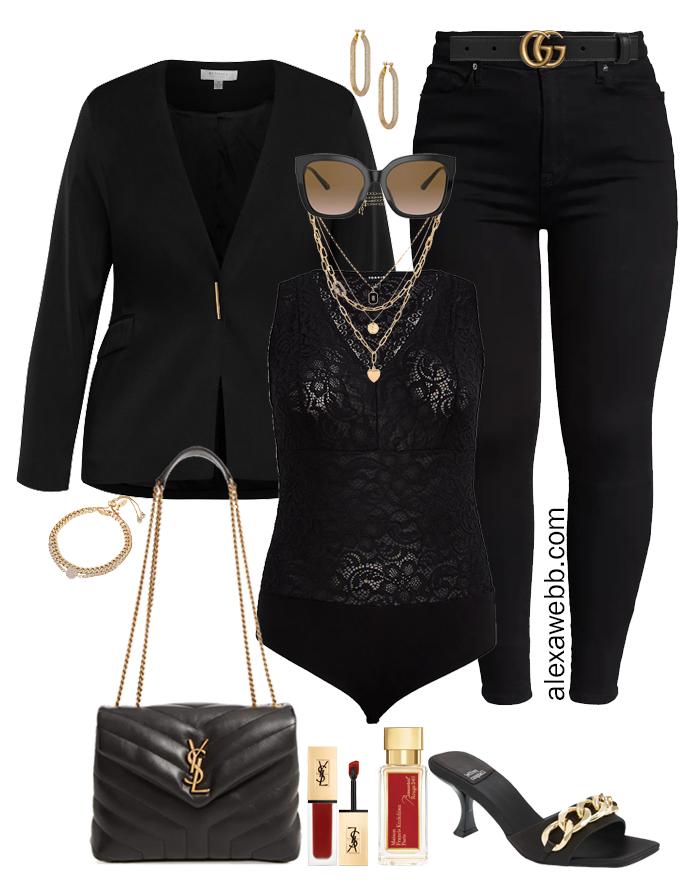Plus Size Black Jeans Night Outfits - Black blazer, lace bodysuit, black skinny jeans, and chain mules - Alexa Webb
