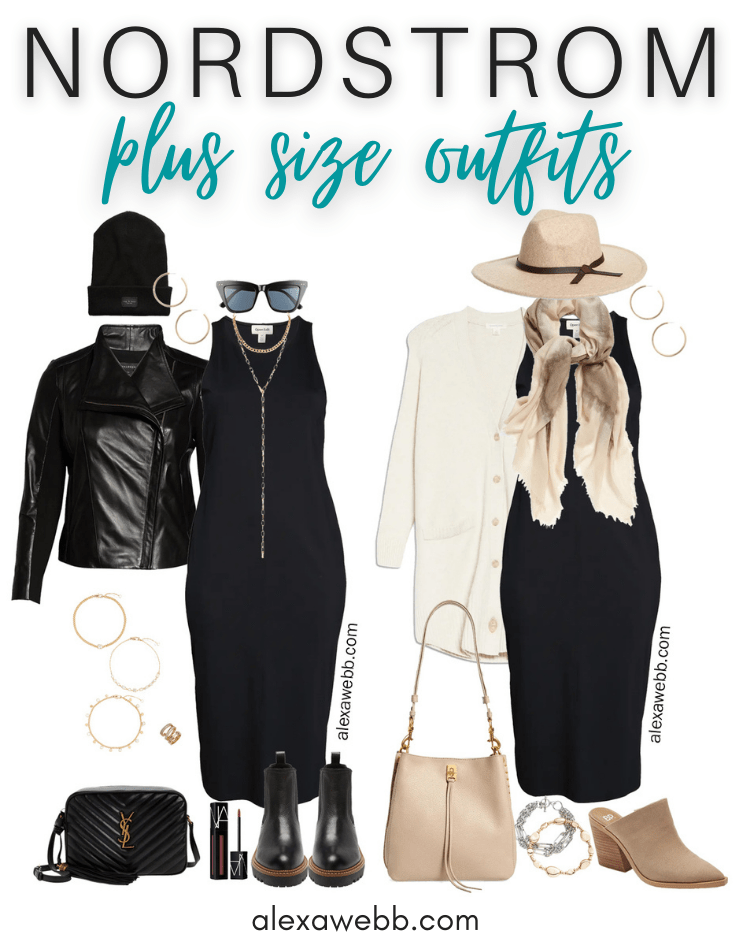 Plus Size Black Dress Outfits with Nordstrom for fall. Trendy casual plus size outfits featuring a black knit midi dress styled by Alexa Webb.